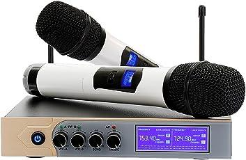 UHF Bluetooth Funnkmikrofon Set, Tobilreve Wireless Mikrofon Karaoke Anlage Dual 2 Handmikrofon Kabelloses Mikrofon mit LCD Display für Kareoke KTV Schallquelle Aufnahme Party Konferenz Konzerte