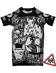 Kids Rashguard Jitsu Gentle & Strong T-Shirt de compression Enfants Garçon