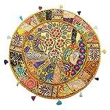 Stylo Culture Indische Baumwolle Boden Kissenbezug Vintage Bestickt Patchwork Gelb 32