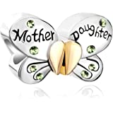 PoeticCharms Ciondolo a forma di farfalla in argento Sterling 925, con cuore, amore, mamma, figlia e cristalli, per bracciale