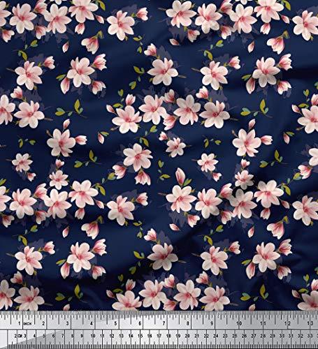Soimoi 130 GSM Moss Georgette Stoff mit Blumenmustern 44 Zoll breit Material durch das Meter-Marine-Blau - Wunderschöne Georgette