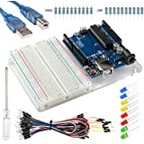Smraza Starter Kit for Arduino with Uno R3, Breadboard,Jumper Wires,USB Cable Leds and Acrylic Base Plate