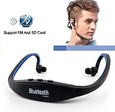 Piqancy Sports MP3 Player Mp4/FM Radio Wireless Headset Handsfree Headphone TF Slot -Assorted