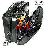2x Reisetrolley wetterfester Koffer Pilotenkoffer Flugkoffer/ Flugreise Zubehör Piloten-Trolley /-tasche + Henkel + Rollen, edel schwarz silber, Piloten-Trolley /-koffer, geräumiger Koffer Tasche mit grosszügiger Einteilung.