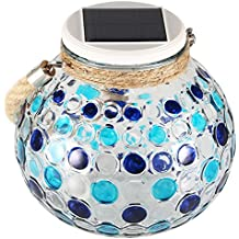Lámpara Solar Diamante GRDE Jarrón Decorativo Con Mosaico Colorido, Lámpara de Mesita Nocturna Para Salón, Jardín, Habitación, Terraza, Comedor, Etc. (Azul)