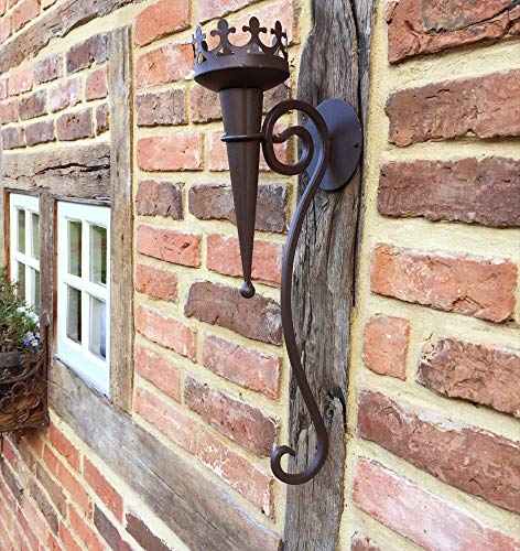 Wandkerzenhalter in Antik Optik aus Metall | 50 cm x 9 cm | Mittelalterliche Fackel | Wandfackel rustikal | historische Burgfackel von Antikas - Kerze-halter-wand-dekoration