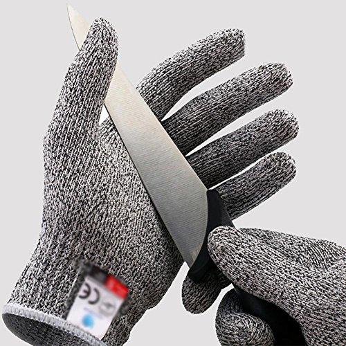 ZHANG4 Schnittfeste Handschuhe Anti-Kratz Anti-Zerreißen Verschleißfest Handschutz Ergonomie Gelten Küche Schneiden Verarbeitung Elastische Manschetten HPPE-Garn Grau, L - Garn Manschette
