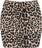 WearAll - Damen Bedruckt Dehnbar Jersey Figurbetontes Kurz Mini-Rock - Braun Leopard - 36-38