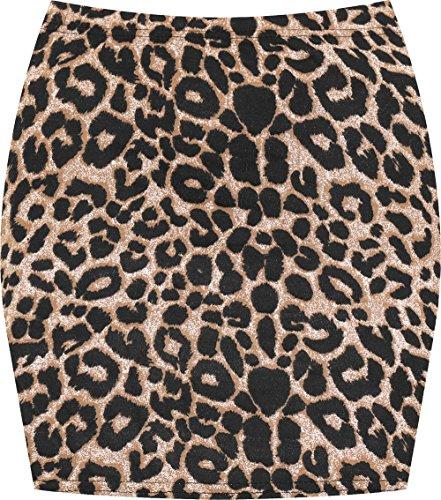 WearAll - Mujeres Stretch Bodycon Elásticos Imprimir Corta Jersey Minifalda - Marrón Leopardo - 36-38