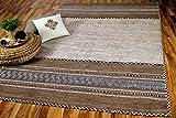 Navarro Natur Teppich Bauwolle Kelim Beige Braun in 6 Größen