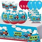 Fiesta de Cumpleaños de Tren Todos a Bordo Vehículo Accesorio Decoración 8 Niños Chico para 8...