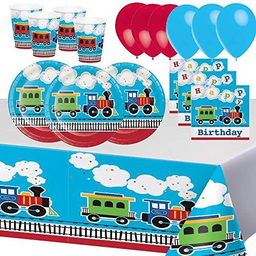 Geburtstag Zug Fahrzeug Party 8 Kinder Junge Mädchen Partyartikel Partygeschirr Gechirr Dekoration, Tischdecke, Ballons, Teller, Kelche, Servietten