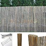 Bambus Sichtschutzmatte Windschutz Bambusmatte Sichtschutz Garten-Zaun Natur (120 cm Höhe, 5m Länge)