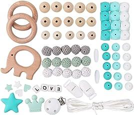 Silikonperlen Schnullerkette Selber Machen Baby Spielzeug Zahnen Silikon Perlen Beißring Diy Silikon-Perlen-Kit DIY-Dummy-Clips Holzperlen Kinderkrankheiten Halskette Armband