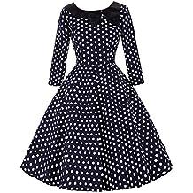 Belle Poque® Vestido Vintage sin Mangas/Manga 3/4 Falda Acampanada Plisada con Volantes Cintura Alta Elegante