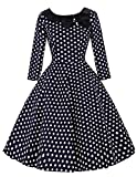 Damen Knielang Elegant Partykleid Sommer Kleid mit Punkte Rockabilly Kleid A-Linie L BP041-3