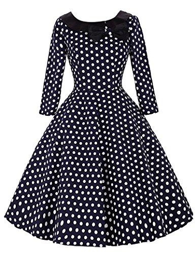 Yafex Klassische 50s Vintage Retro Knielang Rockabilly Kleid Prom Kleid Cocktailkleid S BP041-3