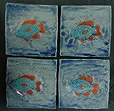 Echtes Kunsthandwerk: 4 Tolle Relief Fliesen Fische für das Bad; Badezimmer, Kacheln, Tier, Tiere, Kunst, Kachel, Fliesenbild, Bild