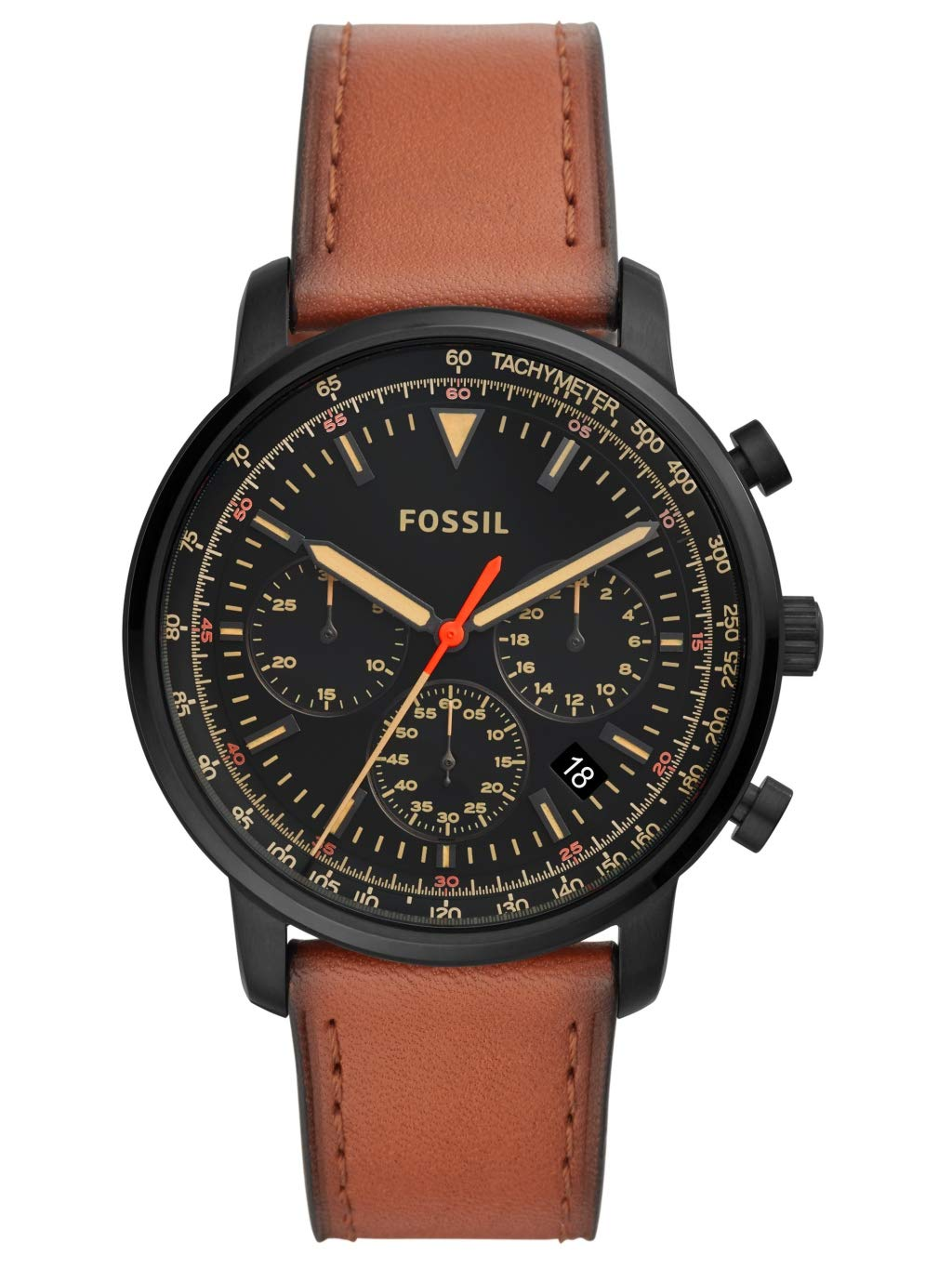 Fossil Mens Chronograph Quartz Watch with Leather Strap FS5501