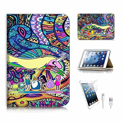(für iPad Mini 4, Generation 4) Flip Wallet Schutzhülle & Displayschutzfolie Bundle. a6789 Adventure Time Graffiti