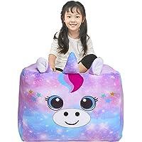 Basumee Unicorn Stuffed Animal Storage Bean Bag Chair Cover 61x61 cm Large Super Soft Warm Fleece Unicorn Beanbag Cover, Blue Purple