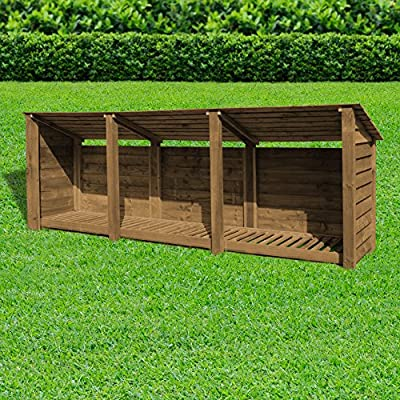Empingham Wooden Log Store/Garden Storage - Heavy Duty With Pressure Treated Wood - 11ft in Length