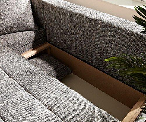 Couch Juline Grau 200x155 mit Schlaffunktion Ottomane variabel Ecksofa - 4