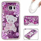 KSHOP Samsung Galaxy S7 Edge Phone Case Glitter Case 3D Creative Luxury Bling Glitter Floating Liquid Case Infused Heart Moving Quicksand Soft TPU Bumper Back Hybrid Shockproof Protection Case Cover - Purple bear