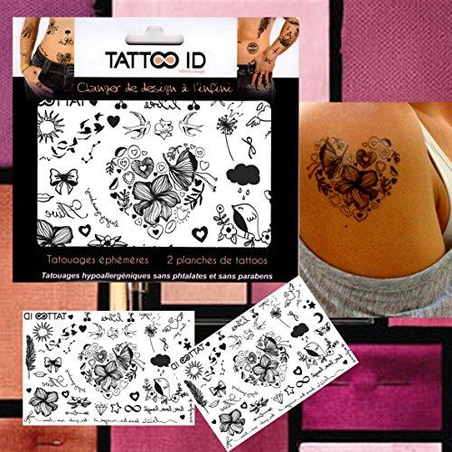 TATTOO ID ROMANTIQUE Coeur tatouage ephemere temporaire hypoallergénique Fabriqué en FRANCE. 2 planches Femme