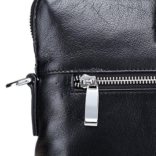 Yy.f Affari Di Cuoio Maschile Borse Casual Pacchetto Diagonale In Pelle Valigetta Porta Computer Black