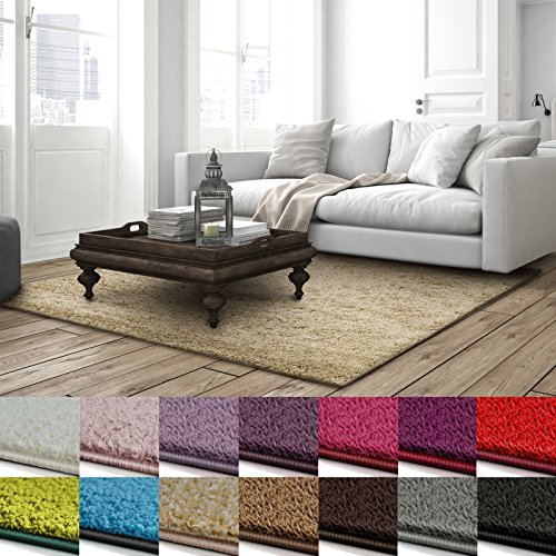 Shaggy Teppich Barcelona | weicher Hochflor Teppich für Wohnzimmer, Schlafzimmer und Kinderzimmer | mit GUT-Siegel und Blauer Engel | verschiedene Größen | viele moderne Farben | 160x230 cm | Beige (Teppich Natur)