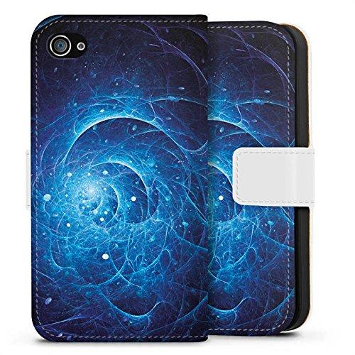Apple iPhone X Silikon Hülle Case Schutzhülle Strom Galaxie Licht Sideflip Tasche weiß