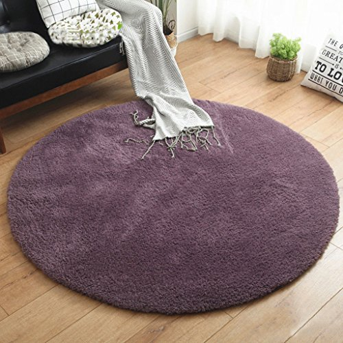 ZHEN GUO SHOP Minimalistische Plain Round Bereich Teppich Schlafzimmer Wohnzimmer Shaggy Teppich Soft Shag Teppich Wohnzimmer (Farbe : Lila, Größe : Diameter 160cm)