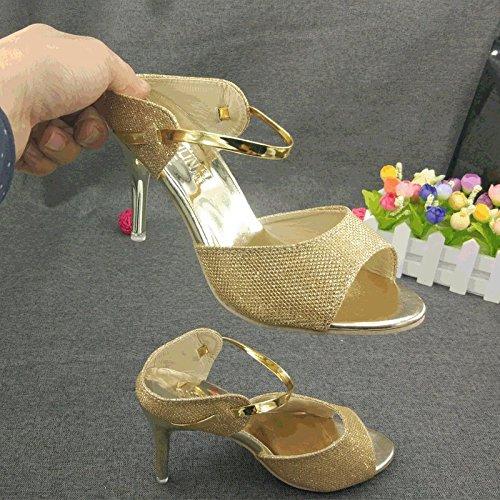 ZYUSHIZ Die High-Heel Schuhe der Feinen mit Frau im Freien verlegt Lady Sandalen Hausschuhe 37EU  [B072PVF7M1]