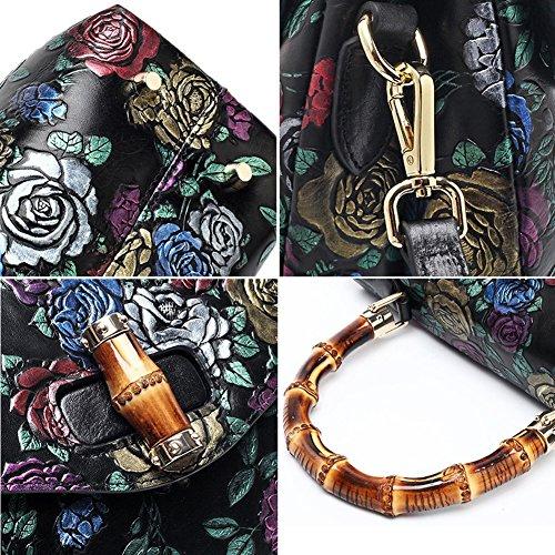 Leathario Borsa di Vera Pelle da Donna Mano Spalla Classico Vintage Estate Elegante Dipinta Lussuosa nero-rosa colorato