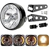 Phare rond pour moto - Projection LED Daymaker avec support de fixation - halogène LED 12 V 17,8 cm