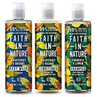 Faith In Nature Grapefruit and Orange Shampoo, Conditioner and Body Wash Trio | Vegan | Cruelty Free | 99% Natural…