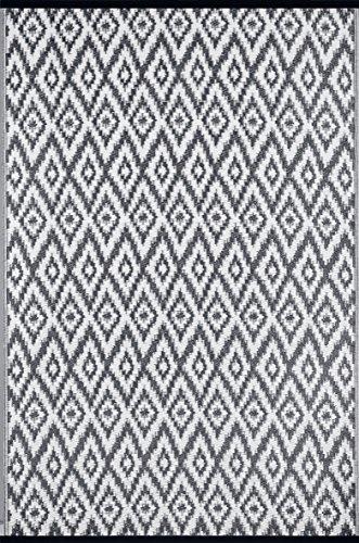 Green Decore Tapis léger Intérieur/extérieur réversible Plastique Tapis Espero Gris Anthracite \ Blanc - 1,2 x 1,8 m (120 x 180 cm), Charbon de Bois Gris/Blanc