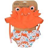 Zoocchini - Set Baby Costumino Contenitivo e Cappellino, Multicolore (Granchio), M (6-12 mesi)