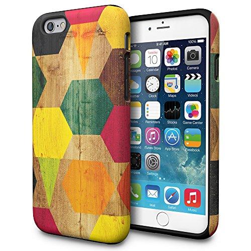 iPhone 6s Hülle, TORU [DUAL LAYER PATTERN] [Farbig] [Geometrisch] Designer-Muster [Motiv][Bunt] für iPhone 6/6s - Wood Geo Wood Geo