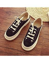 Zapatos De Mujer Cabeza Plana De Color Sólido Encaje Superior Bajo Los Zapatos De Ocio,Negro ,38
