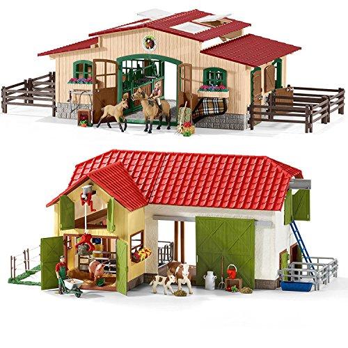 Preisvergleich Produktbild Schleich Farm World Spiel-Set - Großer Bauernhof mit Tieren und Zubehör 42333 und Pferdestall mit Pferden und Zubehör 42195