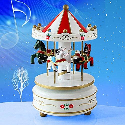Lanlan Holz 4Pferd Drehkarussell Figur Musik Box Kinder Geburtstag Weihnachten Geschenke Spielzeug 1#, mehrfarbig