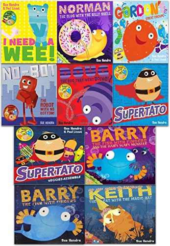 Supertato and Other Stories Collection 10 Books Set Pack by Sue Hendra (Supertato, Supertato Veggies Assemble, Keith the Cat with the Magic Hat, Barry the Fish with Fingers, Norman The Slug with the Silly Shell, Doug the Bug that went Boing, No-Bot The Robot with no Bottom, Barry the Fish with Fingers and the Hairy Scary Monster, Gordon's Great Escape)
