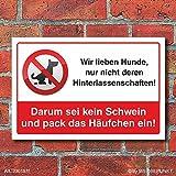 Schild Kein Hundeklo Hundekot Hundehaufen Haufen einpacken 3 mm Alu-Verbund 300 x 200 mm