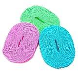 BlueBeach® Paquete de 3 Tendederos Portátiles Resistentes al Viento 5m Tendedero de Cuerda para Exterior / Interior / Hogar / Viaje (Color Aleatorio)
