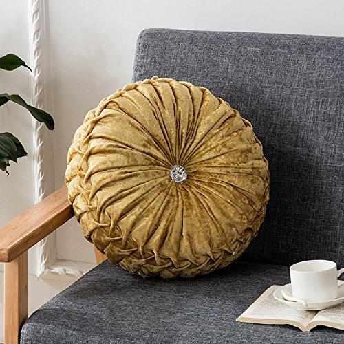Runde Dekorative Kissen (Zhiyuan Kürbis Form Rundes Heim Sofa Dekorative Kissen 35 x 35cm, Gelb)