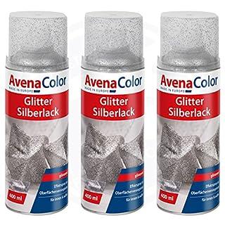 3 x Avena Color Glitter Silberlack 400 ml