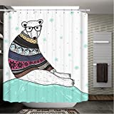 Amoy Lefan Manly Decor Shower Curtain Set Mr Beer in A Lovely Sweater Large Size 72by72 inch with 12 Shower Rings