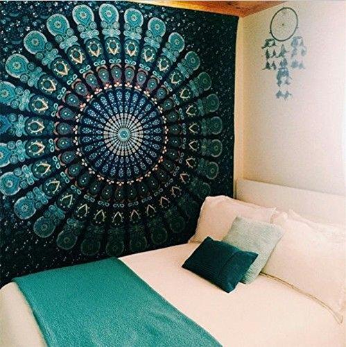Boho floreale psichedelico elefante albero della vita Tapestry Hippy Mandala Gypsy Wall Hanging lenzuolo copriletto copriletto coperta da picnic tenda Decor tabella divano coprire spiaggia Yoga coperta, L, medium